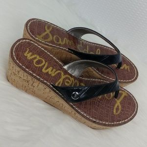 Sam Edelman Romy Wedge Black Thong Sandals
